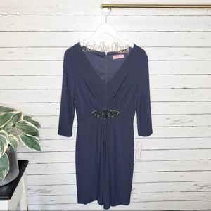 Eliza J Beaded Brooch Navy Dress